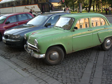 Transportation in Russia: old style (front) and new (behind)