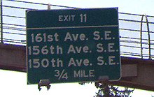 Highway sign in I-90 west of Seattle