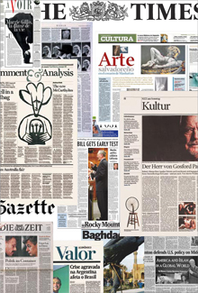 Collage of newspaper designs