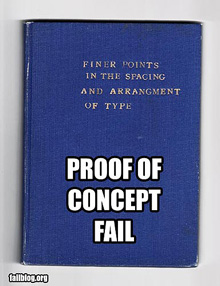 'Failed' typography on a book about type spacing