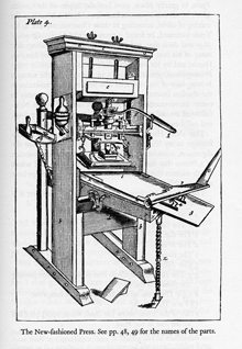 A hand press from Moxon's book Mechanick Exercises