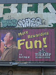 Hobo typeface used on a Seattle casino billboard