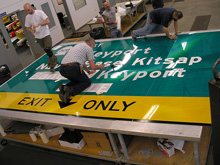 Washington State highway signs being manufactured