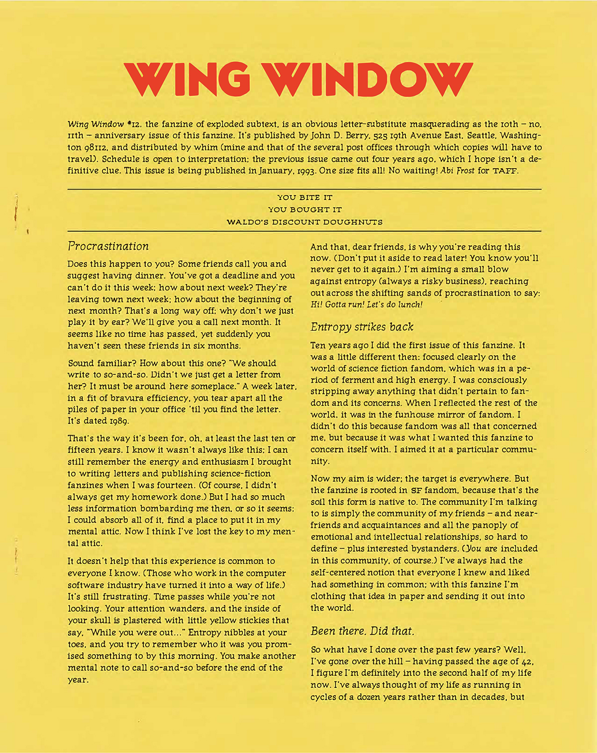 Wing Window #12, January 1993