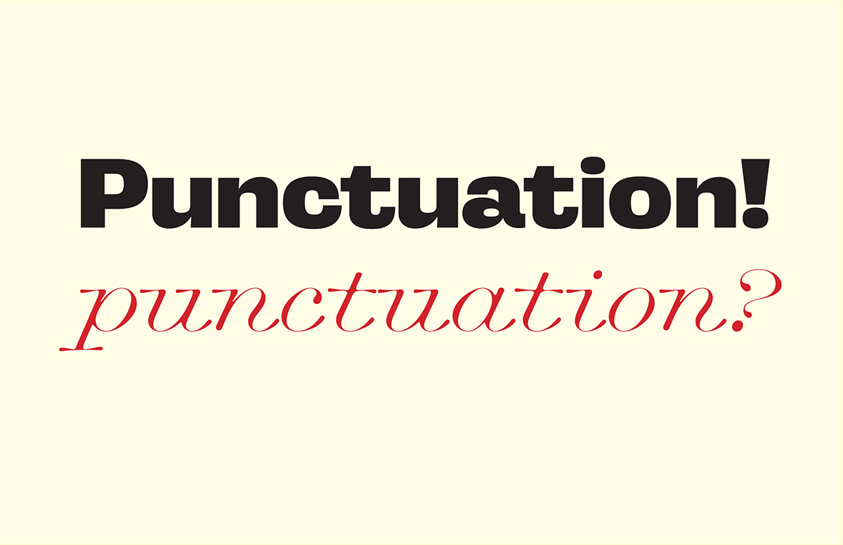 Opening slide for talk on punctuation