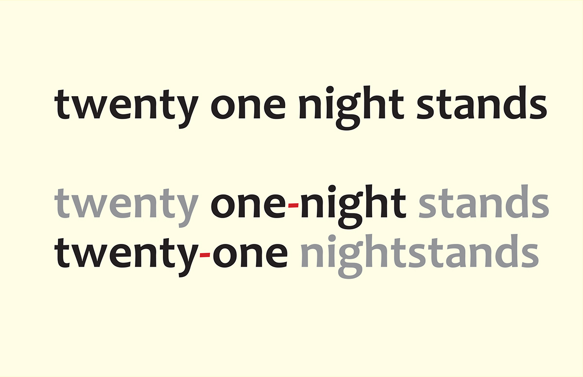 "Slide of ""twenty one night stands"" with various ways of hyphenating those words"