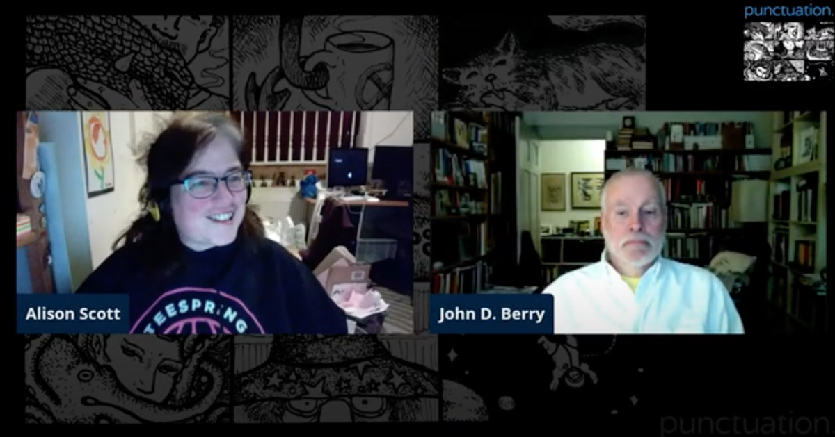 "Zoom screenshot from ""Punctuation"" talk, with host Alison Scott (left) and speaker John D. Berry (right)"
