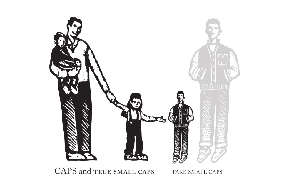 Cartoonish drawings of adults & children, and an adult shrunken down to the height of a child.