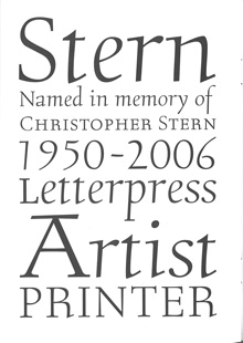 Final page of Stern type-specimen booklet