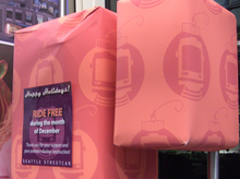 The fare boxes were wrapped initially, while rides were free
