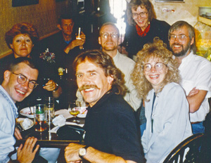 Typographers in the pub at Type90, Oxford, 1990